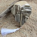 Coastal driftwood heart with white tassel