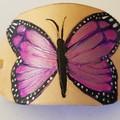 Leather barrette Purple Butterfly