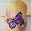 Leather barrette Butterfly and flowers