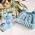 Pale Teal Handmade Crochet Knitted Newborn Cable Baby Beanie Hat & Booties