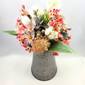 Artificial Native Flower Arrangement  in Vintage Tin - Mothers Day Gift