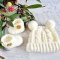 Cream/Off White Handmade Crochet Knitted Newborn Cable Baby Beanie Hat & Booties