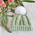 Sage Green Handmade Crochet Knitted Newborn Cable Baby Beanie Hat & Booties