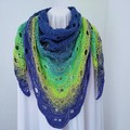 Hand Crocheted Triangular Shawl - Opal