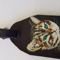leather cat bag tag
