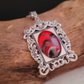 Red, Black and White Fluid Art Necklace with Glass Cabochon. Silver Plated.