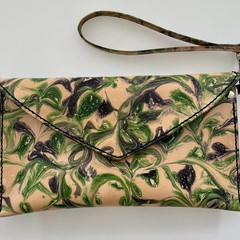 Marbled Leather clutch bag