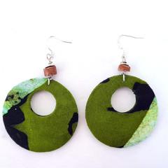 African Batik Fabric Drop Earrings with Bauxite Stone