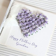 Mother's Day Card, Personalised,  Purple Roses Heart, Mum, Oma, Nanna, Nanny