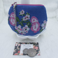 Coin and Card Purse made from Recycled Embroidered Jeans - Pink Flowers