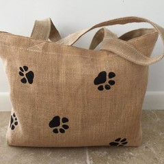 HESSIAN Tote Bag in Cat Face or Paw Print BEACH PARK MARKETS