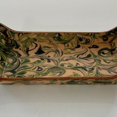 Marbled Leather rectangular tray