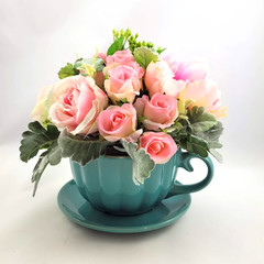 Mothers Day Gift - Large Ceramic Teacup & Saucer with Pink Silk Flowers