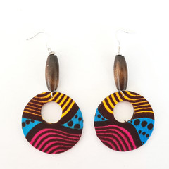 African Print Fabric Large Drop Earrings