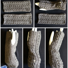 Fingerless gloves, wrist warmer in a beautiful grey