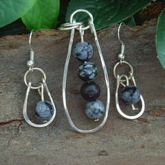 Snow Flake Obsidian Sterling Silver Pendant and Earrings