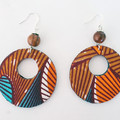 African Print Fabric Large Drop Earrings
