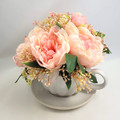 Mothers Day Gift - Large Ceramic Teacup & Saucer - Pink Silk Peony Arrangement