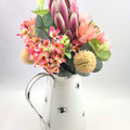 Pink Artificial Native Flower Arrangement in Tin Jug - Mothers Day Gift