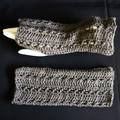 Fingerless gloves, wrist warmer in a beautiful grey