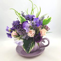 Mothers Day Gift  - Ceramic Cup & Saucer with Silk Flower  Arrangement
