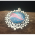 Pink and Blue Fluid Art Necklace with Glass Cabochon