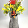 Colourful Artificial Native Flower Arrangement in Tin Jug - Mothers Day Gift