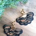 """""""Margie"""", Genuine Leather, Stud Earrings, Black/Gold/ Brown Camo Print"""