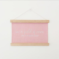 In a Field of Roses Wooden Wall Banner