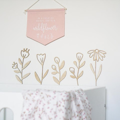 Wooden Flowers - set of 5