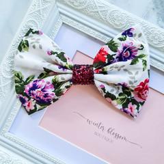 Bella White Floral Bow