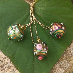Hand painted Indian bead necklaces.