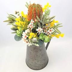 Artificial Native Flower Arrangement in Rustic Tin Jug - Mothers Day Gift