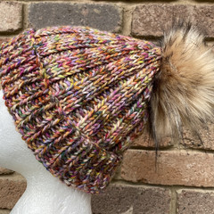 Knitted beanie rainbow colourful ladies or mens beanie, PomPom beanie, alpaca be