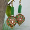 Vintage metal cloisonne' earrings.