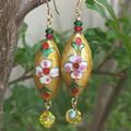 Vintage  cloisonne' metal earrings.
