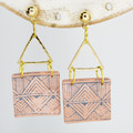 Blush Square with Triangle Gold Embellishments