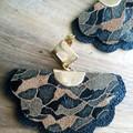 Scalloped Fan Genuine Leather, Stud Earrings, Black/Gold/ Brown Camo Print