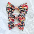 Bella Charcoal Floral Bow