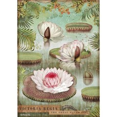 Rice Paper - Decoupage - 1 x A4 Size Sheet - Water Lily