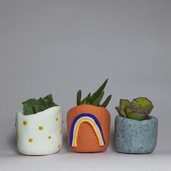 Polymer Clay set of 3 tiny pots Boho Bliss