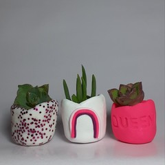 Polymer Clay Tiny Pots set of 3 Pink Rainbow