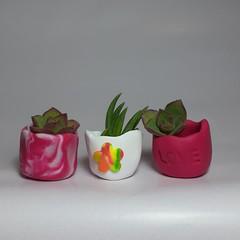 Polymer Clay Tiny Pots set of 3 Pink blend