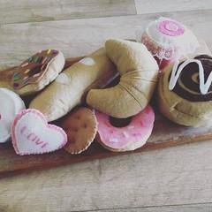 play food felt Bakery items set croissant, baguette, donuts, cupcake, cookies