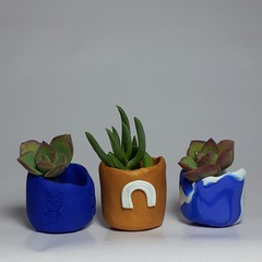 Polymer clay set of 3 tiny pots Rose Gold Rainbow