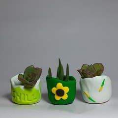 Polymer clay Tiny Pots set of 3 Green Sunflower