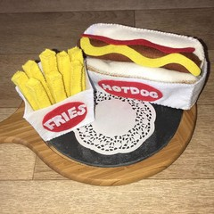 Felt food hot dog and fries play food set