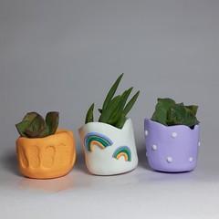 Polymer Clay Tiny Pots set of 3  Happy Rainbow