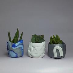 Polymer Clay Tiny Pots set of 3  Silver Rainbow