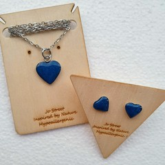 Tiny Sapphire Blue Heart Earrings and Necklace